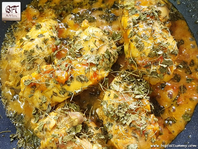 Preparation of Methi Chicken