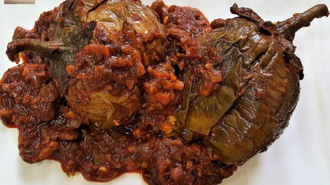 Brinjal stuffed with Goan Prawn Recheio