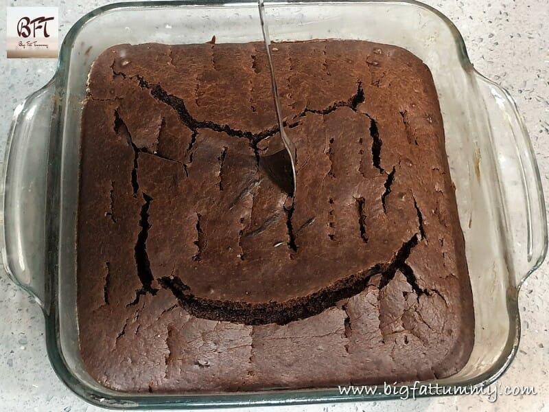Making of Eggless Chocolate Poke Cake